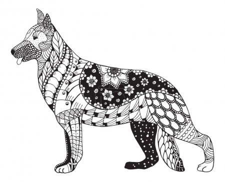 German shepherd dog head zentangle stylized, vector, illustration, freehand pencil, hand drawn, pattern. Zen art. Ornate vector. Lace. Coloring.