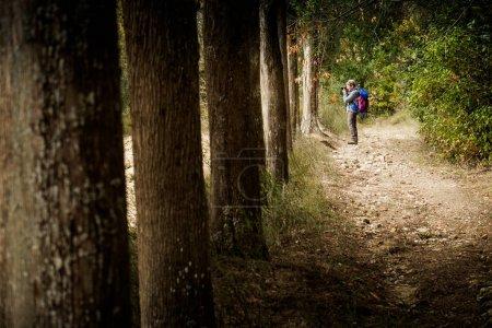 Buonconvento, Siena, Tuscany - Novembre 12, 2017: Autumnal trekking in the province of Siena, from Buonconvento to Monte Oliveto Maggiore Abbey