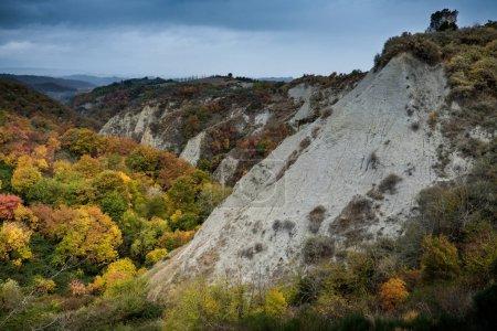 Chiusure, Siena, Tuscany - Novembre 12, 2017: Chiusure, autumnal trekking in the province of Siena, from Buonconvento to Monte Oliveto Maggiore Abbey