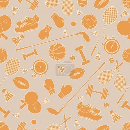 Seamless pattern on the sports theme. Vector illustration sports