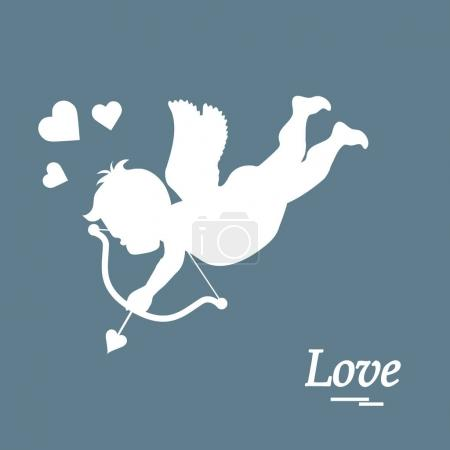 Cute vector illustration: cupid shoots a bow. Love...