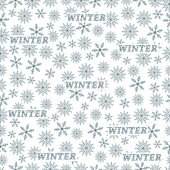Winter seamless pattern with variety of snowflakes on a white background