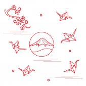 Branch of cherry blossoms mount Fuji and origami paper cranes Set of Japan traditional design elements