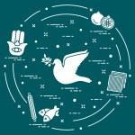 Jewish symbols: dove, olive branch, pomegranate, m...