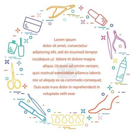 Illustration pour Silhouette d'outils et de produits de manucure et pédicure pour la beauté et les soins. Élément de conception pour carte postale, bannière, affiche ou impression . - image libre de droit
