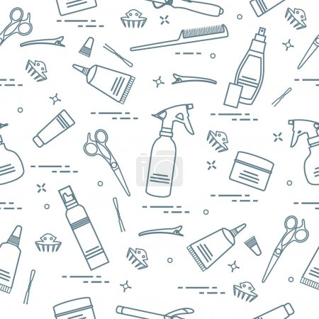 Seamless pattern with professional hairdresser tools. Fashion an