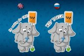 Elephant cute Nick Big set of stickers in English and Russian languages Vector cartoon