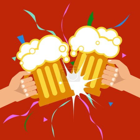 Illustration for Vector illustration. October Beer Festival. Two hands holding beer mugs. - Royalty Free Image