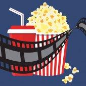 Vektorové ilustrace. Popcorn a nápoje. Filmový pás hranice. Kino