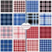 Tartan plaid pattern set Collection of 16 seamless plaid patterns for fabric backgrounds apparel gift wrap and more Navy blue black red and pink Preppy classic retro plaid swatch tiles