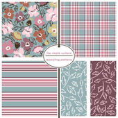 Seamless floral ditsy pattern with coordinating plaid stripe and leaf prints Flower pattern for background gift wrap scrapbook paper wallpaper cards and more Feminine retro vintage style