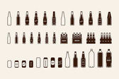 Beer package icon set: bottle can box