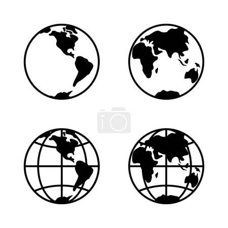 World icon set on white background, 2 hemispheres....