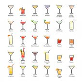 Alcoholic cocktails with titles IBA official cocktails The Unforgettables Icons set in flat style