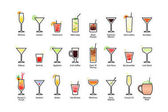 Popular alcoholic cocktails with titles part 2 icons set in flat style on white background