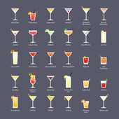 Alcoholic cocktails IBA official cocktails The Unforgettables Icons set in flat style on dark background
