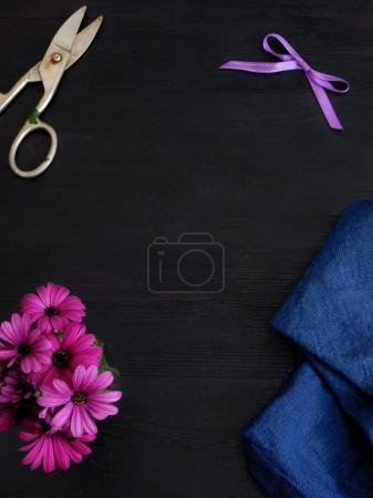 Dark background with tools for a florist or a designer