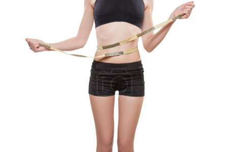 Woman winded round with tape measure