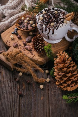 Christmas or New Year composition with hot chocolate or cocoa dr