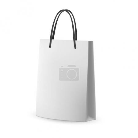 Vector Packaging: White gray paper bag with black string