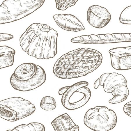 Photo for Seamless vector pattern with cakes. Cakes, pies, baguette, brioche. Hand-drawing sketch. White background. - Royalty Free Image