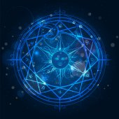 Alchemy magic circle on blue background