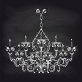 Antique gothic chandeliar sketch on chalkboard