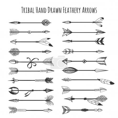 Illustration for American indian arrow icons. Tribal hand drawn feathery arrows vector illustration - Royalty Free Image