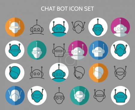 Chat bot icons. Virtual chatter assistant vector s...