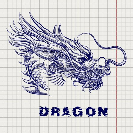 Dragon head sketch on notebook page