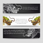 Horizontal banners set with chinese dragons