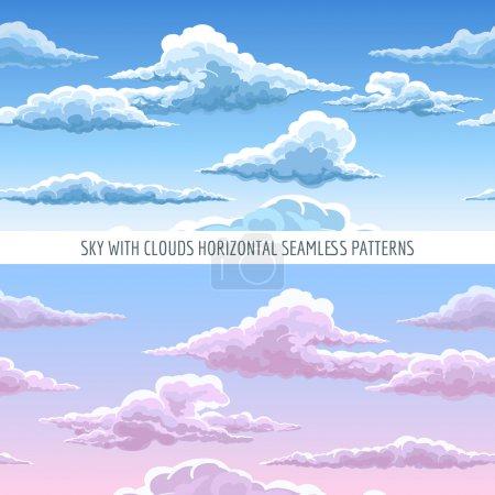 Illustration pour Ciel bleu vectoriel avec nuages motif horizontal sans couture. Caricature nuages célestes dans le ciel sur fond de journée ensoleillée - image libre de droit