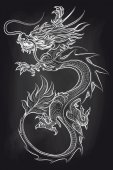 Chinese dragon on chalkboard backdrop Hand drawn dragon vector illustration