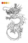 Coloring page with hand drawn dragon and color swatches Vector illustration