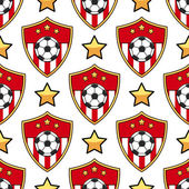 Sport seamless pattern soccer Football background with ball and emblem Vector illustration