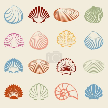 Colorful sea shells silhouettes set
