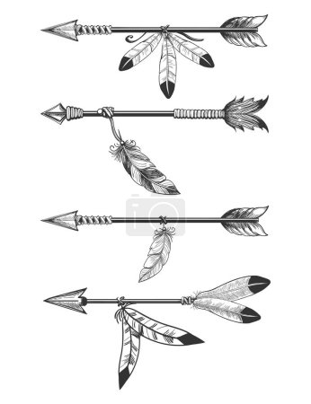 Arrows with feathers and beads
