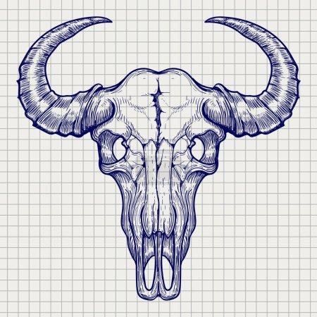 Ball pen buffalo skull sketch