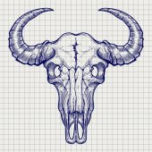 Ball pen buffalo skull sketch vector on notebook page