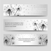 Dandelions and seeds horizontal banners set