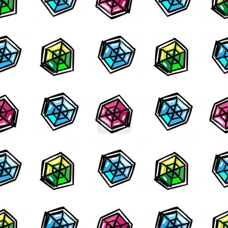 Cartoon diamonds seamless pattern