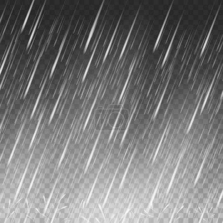 Illustration pour Fond vectoriel de pluie. gouttes d'eau tombant sur transparent - image libre de droit