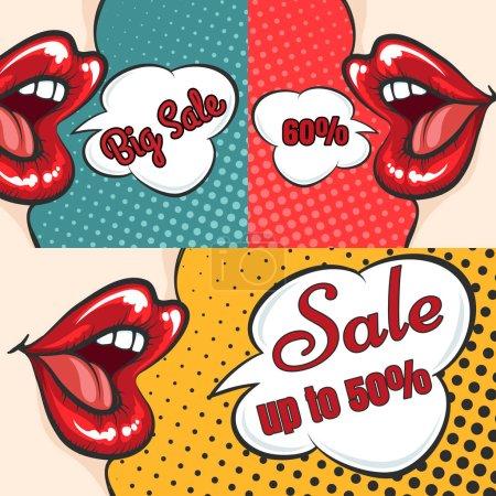 Woman lips pop art sale banners