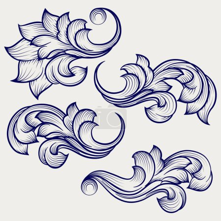 Illustration for Hand drawn floral baroque engraving elements on grey backdrop. ector illustration - Royalty Free Image