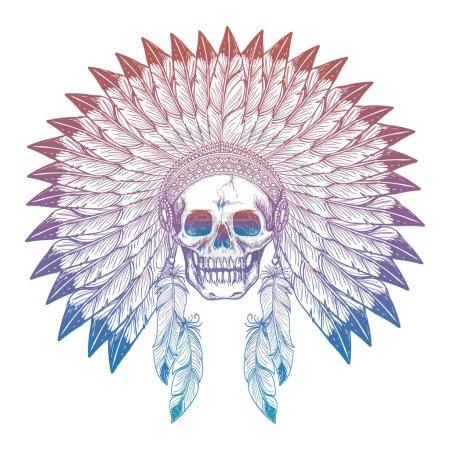 Colorful skull in native american headdress