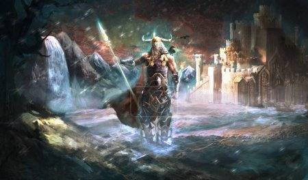 Odin the god of Vikings in front of Valhalla...