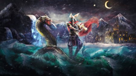 Thor fighting serpent, Norse mythology...