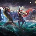 Постер, плакат: Thor fighting serpent Norse mythology