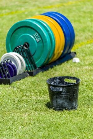 gym equipment on grass