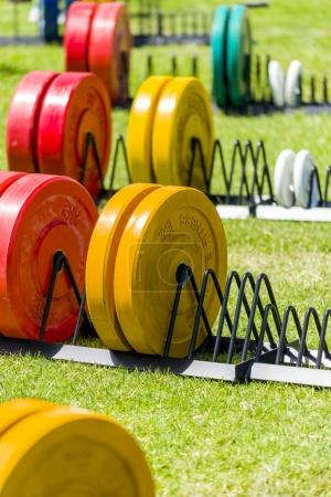 gym equipment on grass